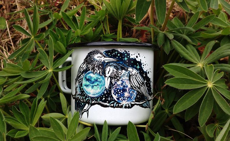 Hand painted mug Callisto and Titan Raven Lovers enamel hand painted mug