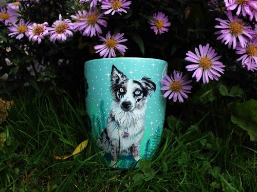 custom mug illustration etsy store hand painted painting sell art animal art dog art doggo catto pet illustrator