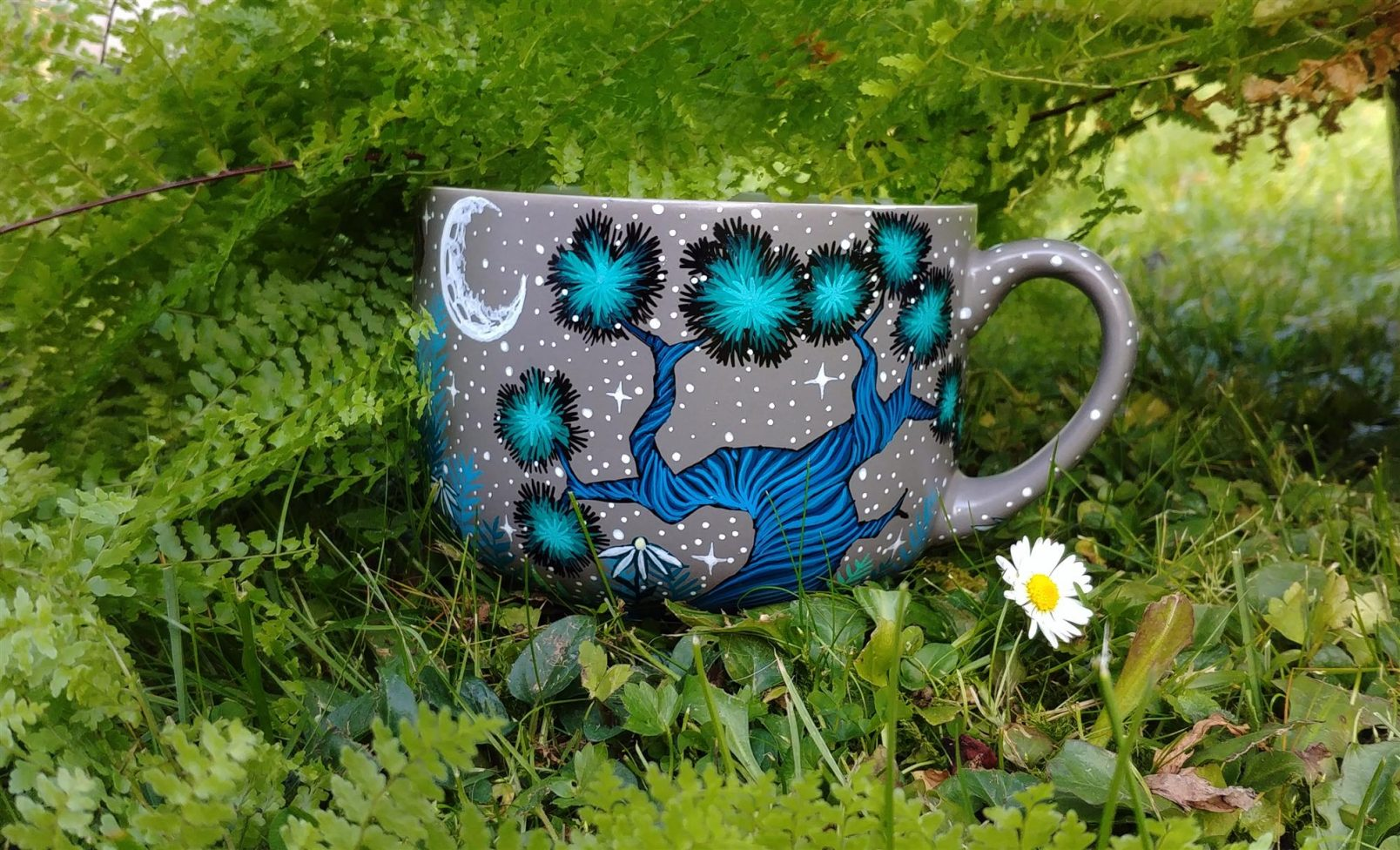 moon forest mug, coffe addict, tea mug, ceramic gift, hand painted animals, pet art, animal artist on etsy, animal art, illustration, nature art, pottery, custom art 4