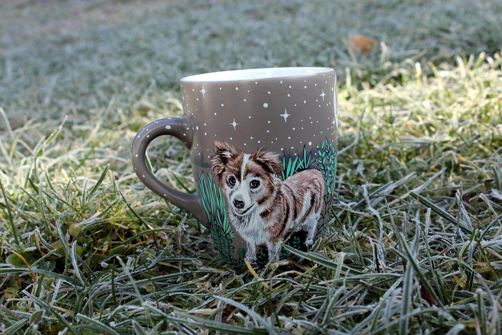 Personalizet custom pet mug coffe tea cup hand painted handmade illustration mug pet forest meadow bird cat moon grass pine trees mug etsy store 3