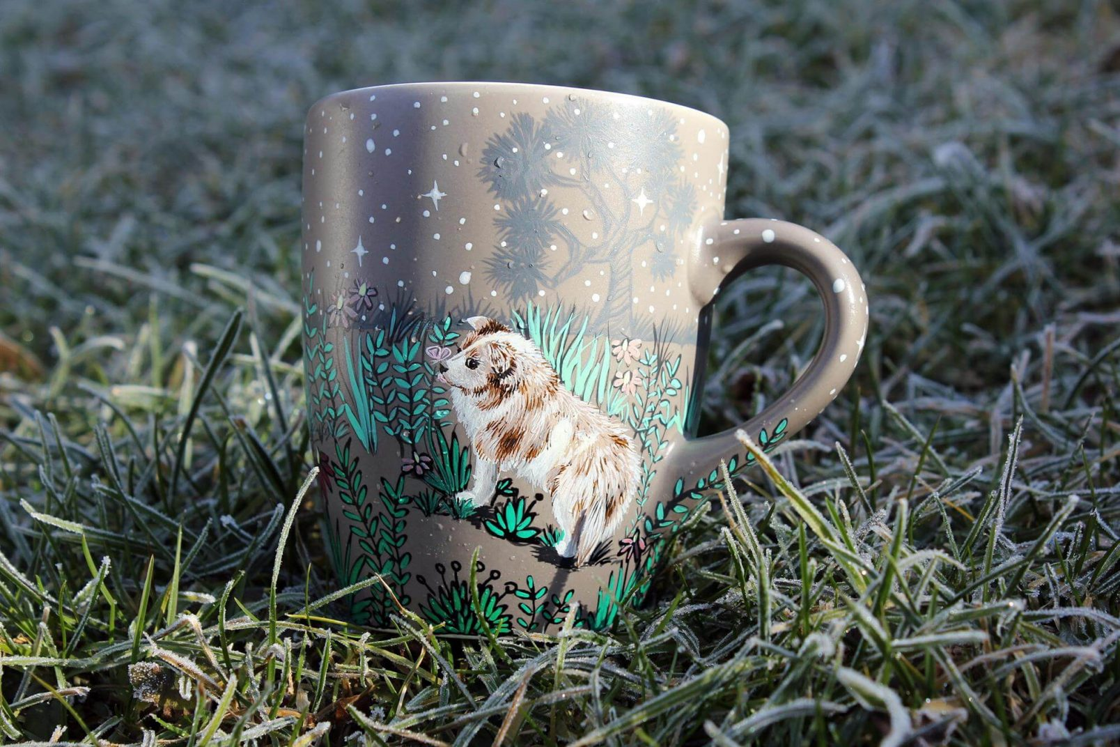Personalizet custom pet mug coffe tea cup hand painted handmade illustration mug pet forest meadow bird cat moon grass pine trees mug etsy store 8