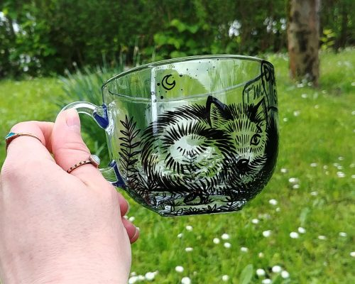 coffee addict mug cup hand painted glass mug coffee tea cup mom gift