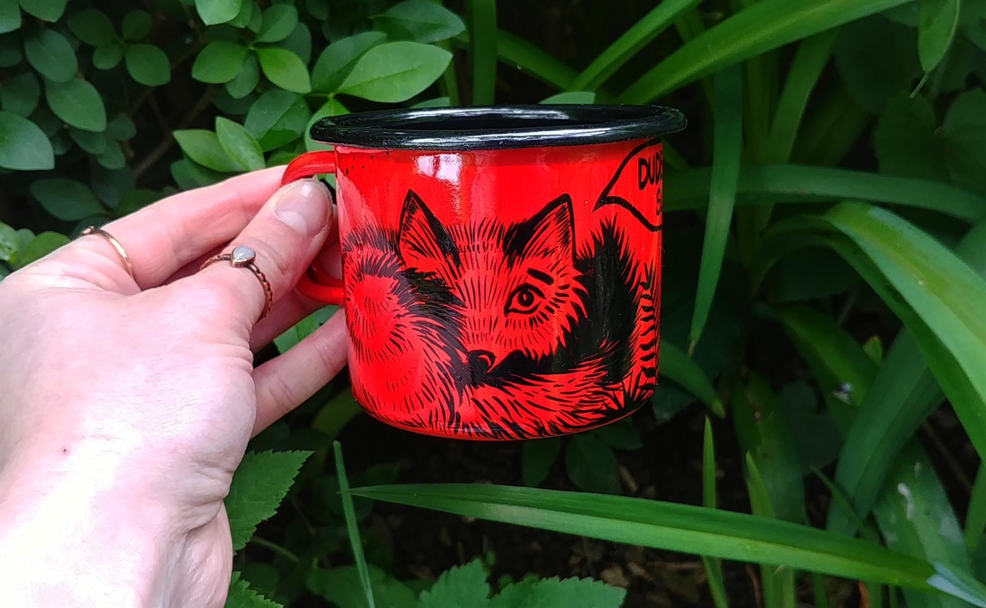 coffee addicted fox red enamel travel mug tea cup campfire hand painted