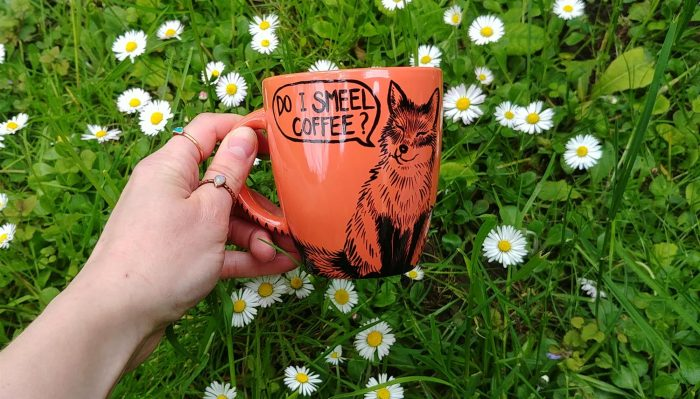 coffee addicts handmade gifts pet lover animal lovers animal portrait tea cup ceramics peach fox mug
