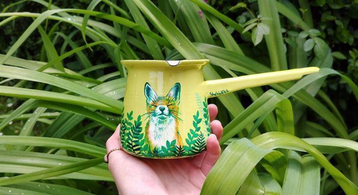 coffee pot enamel travel pot cooking tea lover gift idea unique