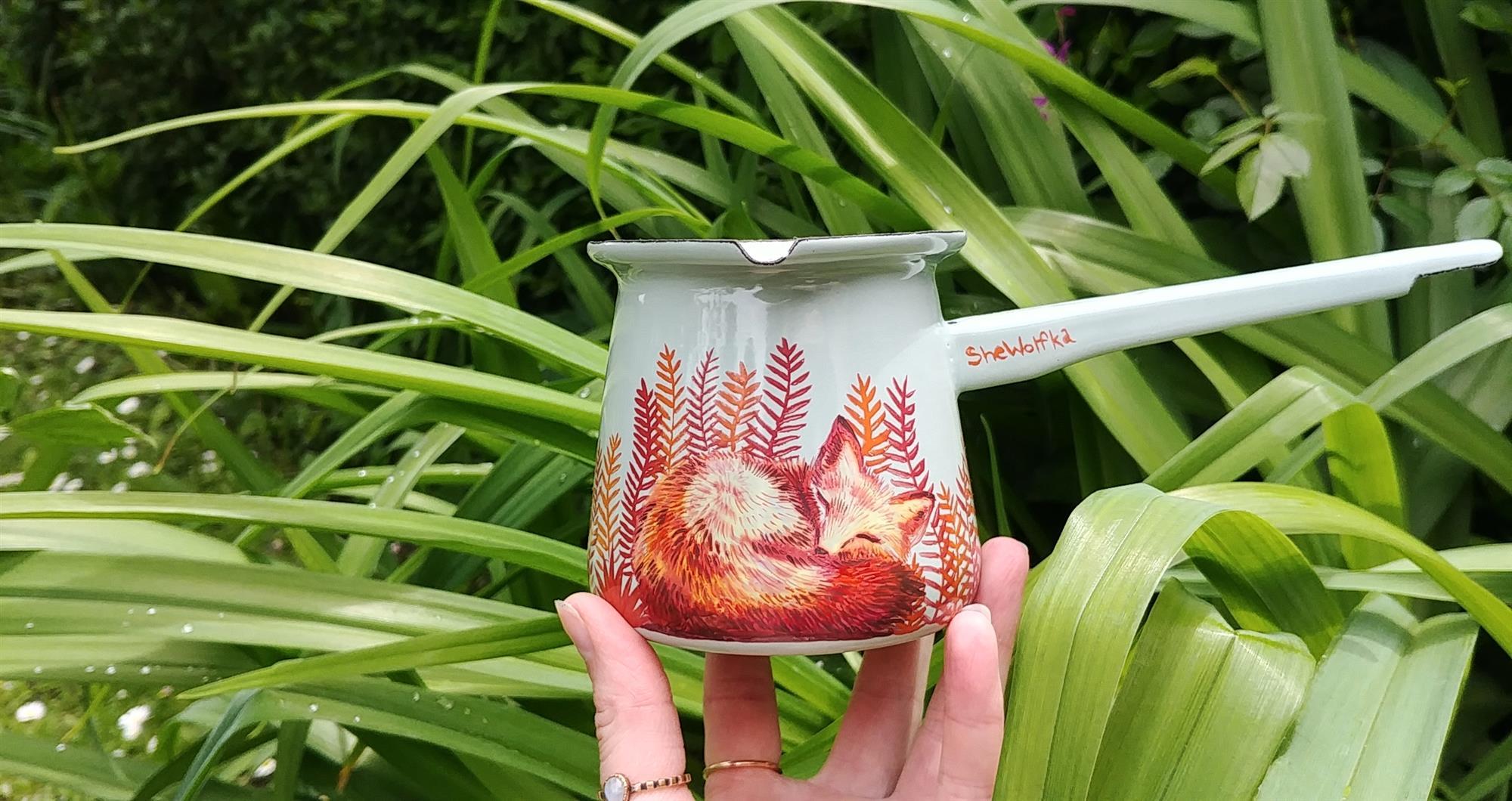 coffee pot fox red foxie firefly coffee addict enamel turkish coffee pot