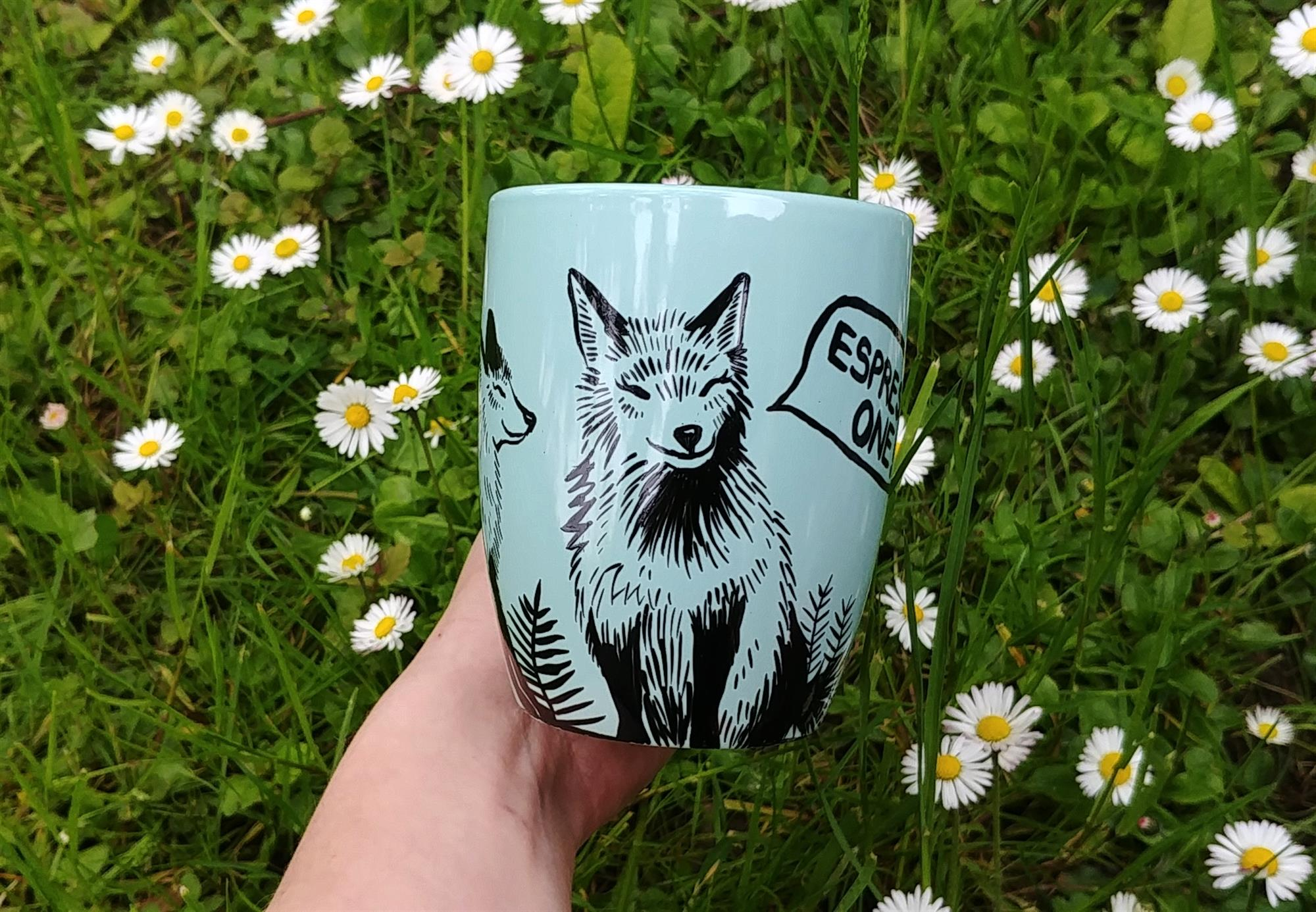 date espresso foxes hand painted handmade mugs plants, fox lover animal art wood forest animals