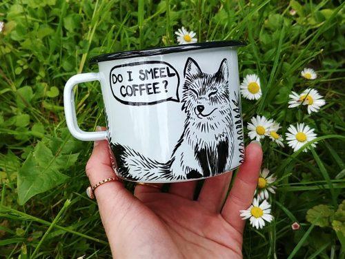 do I smell coffee enamel mug hand painted travel cup camping mug