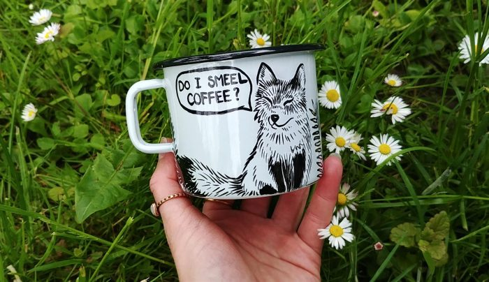 do I smell coffee enamel mug hand painted travel cup camping mug