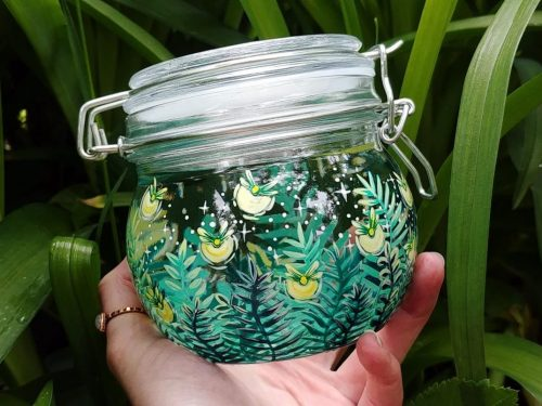fireflies hand made jar marmelade gifts for her grandma birtdday gift, animal nature lovers gift botanic art