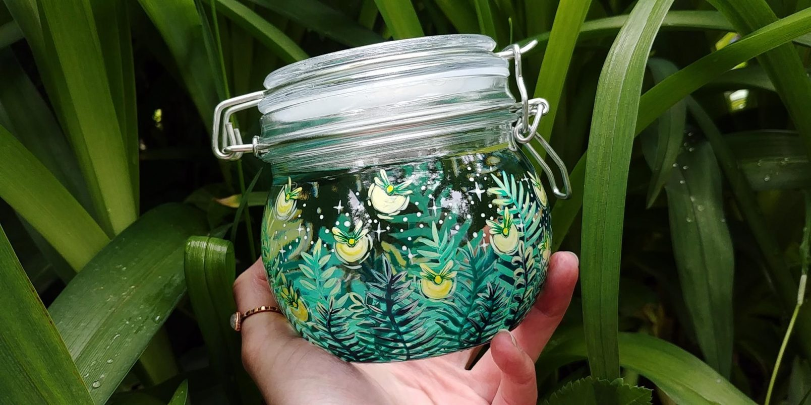 fireflies hand made jar marmelade gifts for her grandma birtdday gift, animal nature lovers gift botanic art