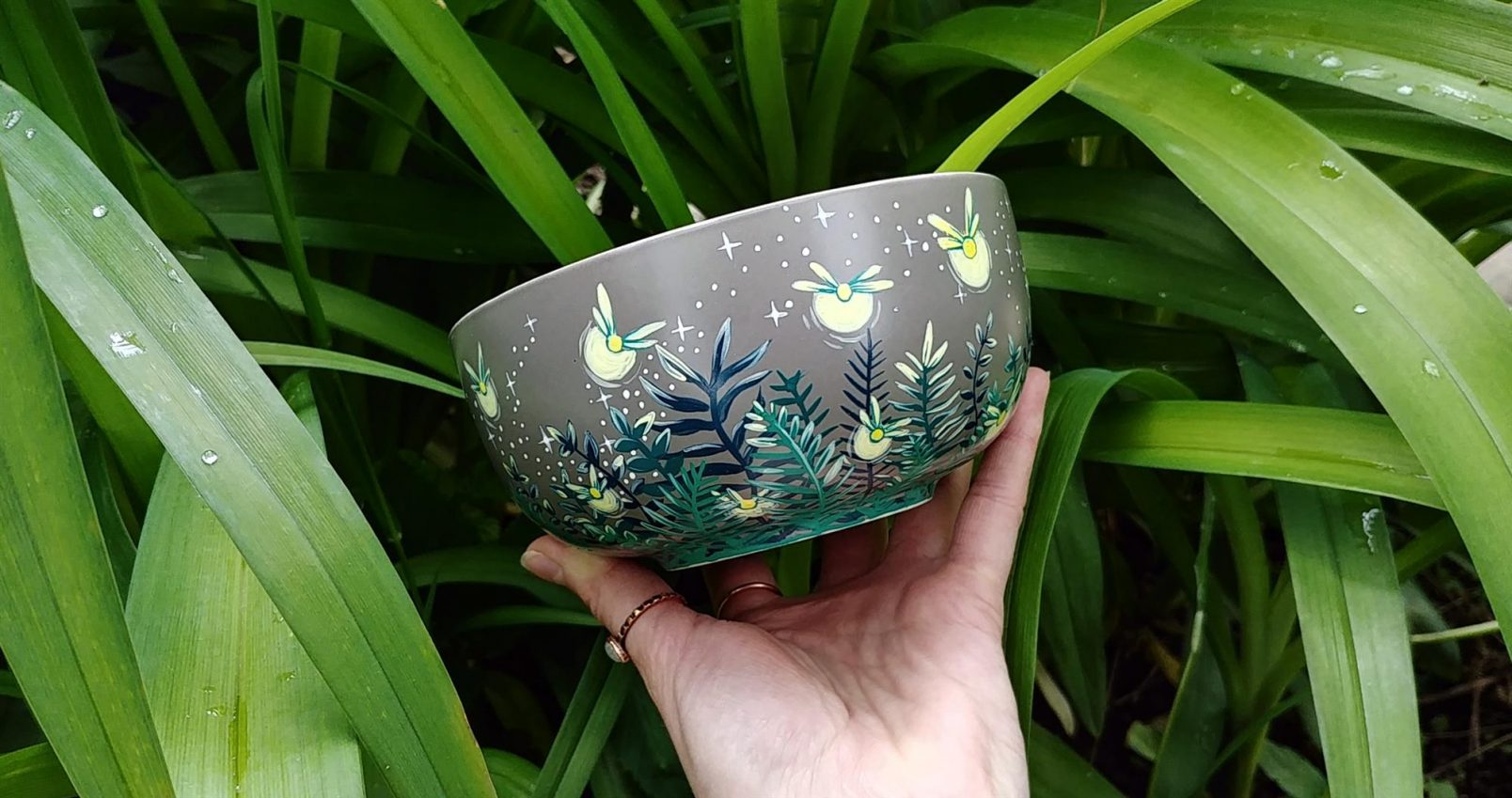 firefly bowl cereal hand painted handmade gifts meadow forest night sky stars moon ceramic mug cup unique gifts