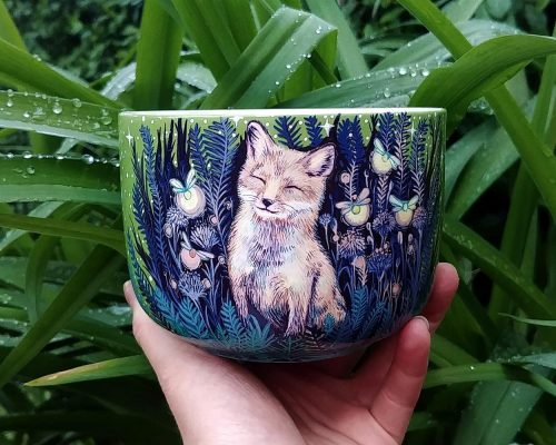fox and fireflies handmade hand painted ceramic bowl mugs cup ceramics cereal night scene etsy store woodland animals firefly gift for her