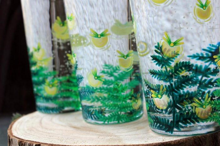 firefly water glasses handpainted handmade magical ferns meadow forest enchanted