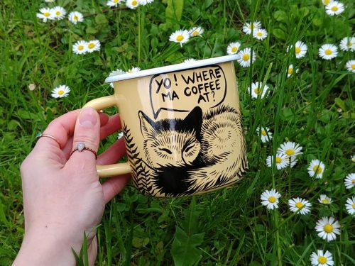 yellow enamel mug hand painted foxes in forest woodland meadow travel cup big coffee mug traveler gift for him kids gift