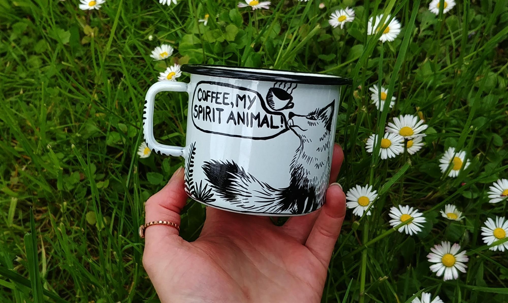 fox mug spirit animal hand made gift ideas kids gift travler gift idea gift for him etsy store buy online