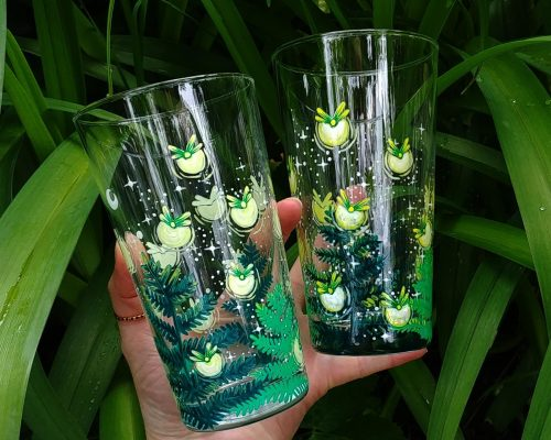 water glass hand painted firefly handmade gift kitchen decor birthday gift etsy store
