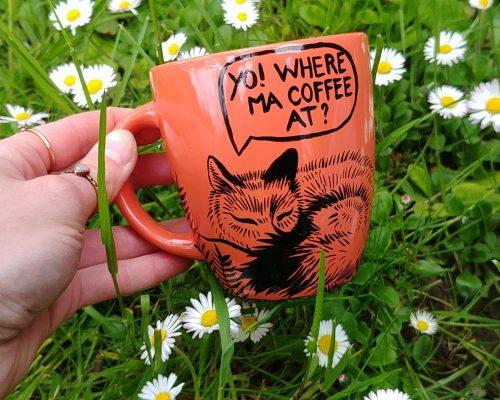 witty foxes addicted decaf handmade hand painted animal art portrait comics sleepy addicted coffe fox