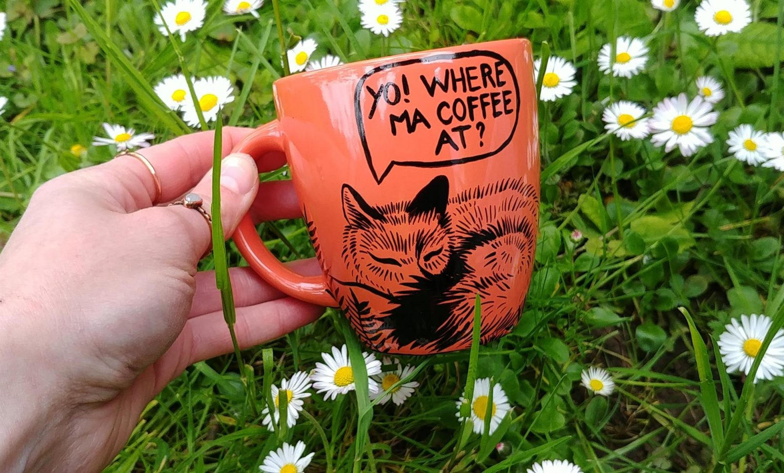 witty foxes addicted decaf handmade hand painted animal art portrait comics sleepy addicted coffe fox
