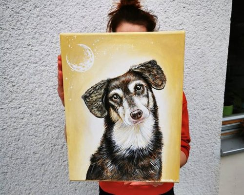 canvas dog painting, pet art, pet artist, animal illustration, wall art, acrylic painting, doggo art, pet portraits, custom art