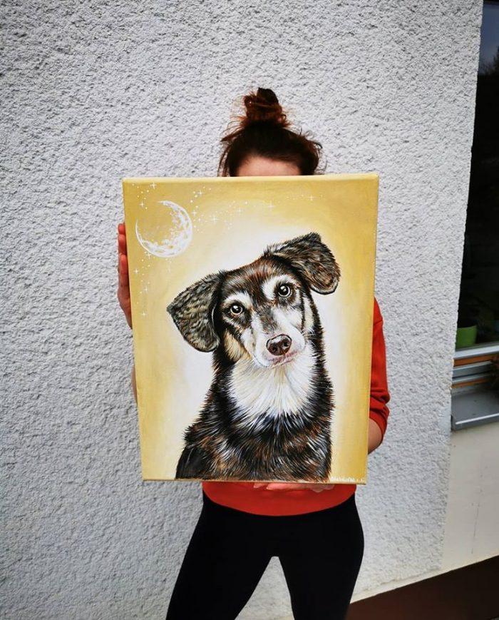 canvas dog painting, pet art, pet artist, animal illustration, wall art, acrylic painting, doggo art, pet portraits, custom art