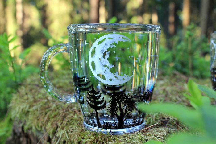 moon forest glass mug constellation mug hand painted magical custom name moon art moon mug