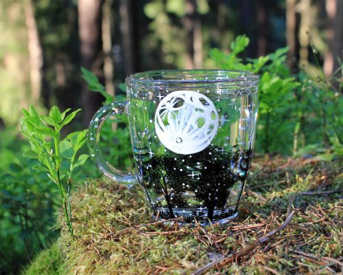 moon forest glass mug constellation mug hand painted magical custom name moon art moon mug