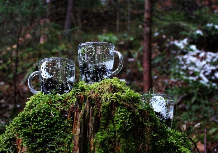 moon forest mug glass etsy shop starry sky tea cup personalized heart full moon nature photography crescent lunar phases magical mystic