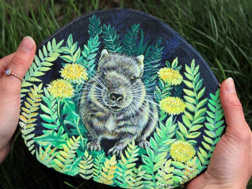 degu painting, degu art, pet artist, pet illustration, wood painting, handpaointed animals, magical art pet lovers gift idea
