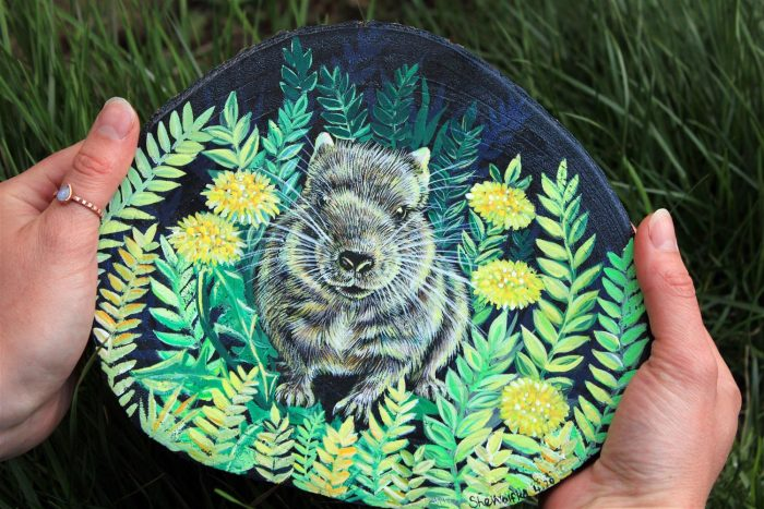 degu painting, degu art, pet artist, pet illustration, wood painting, handpaointed animals, magical art pet lovers gift idea