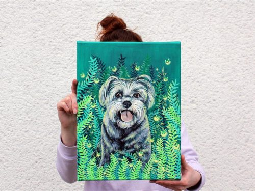 firefly pet canvas art, dog portrait, animal portrait, cat painting, cute dog art, dog lover gift, acrylic painting