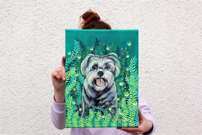firefly pet canvas art, dog portrait, animal portrait, cat painting, cute dog art, dog lover gift, acrylic painting