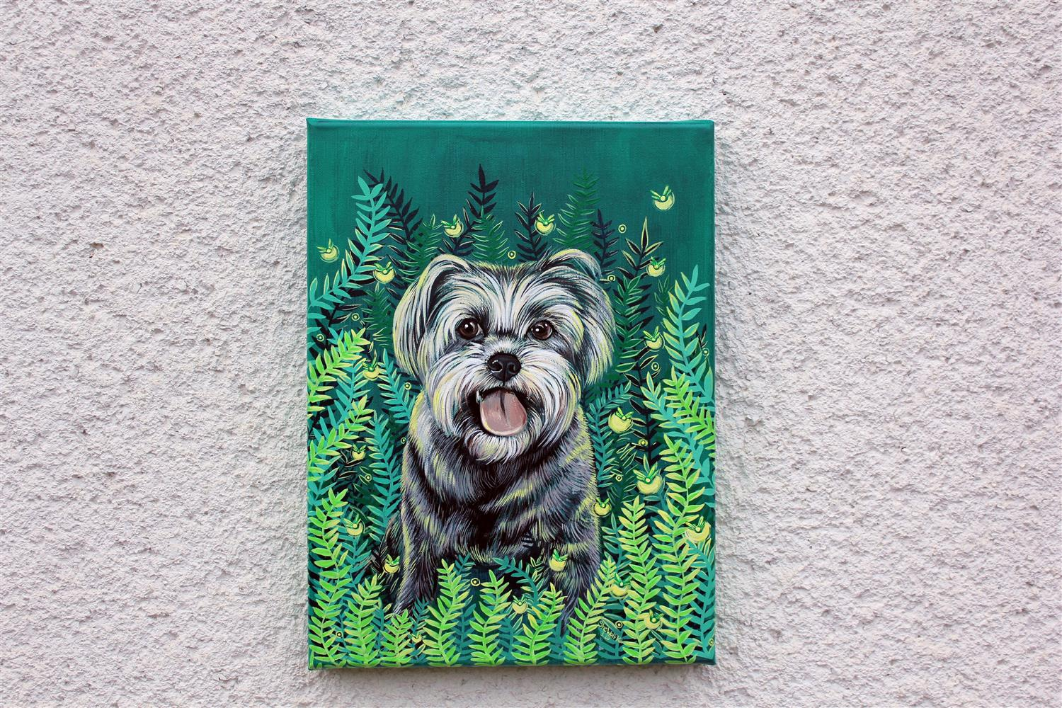 canvas art, dog portrait, animal portrait, cat painting, cute dog art, dog lover gift, acrylic painting