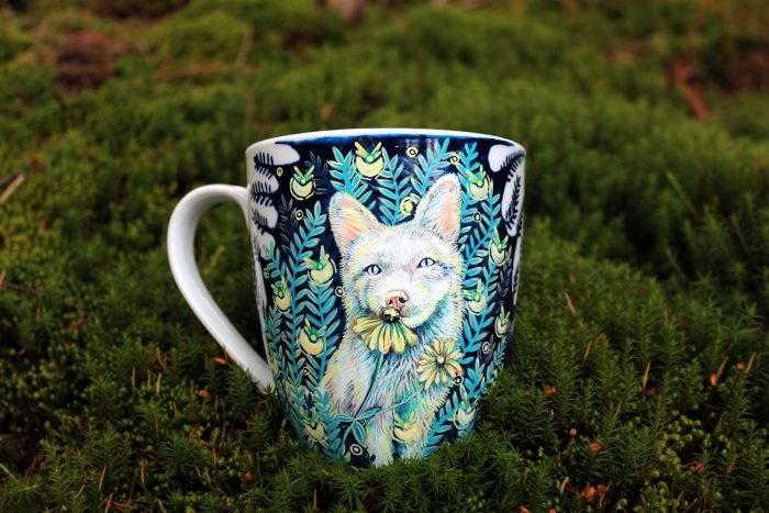 elfwood firefly meadow pet mug handpainted mug, tea cup, love handmade, arctic fox