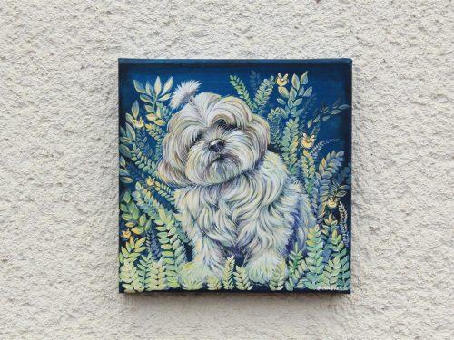 firefly garden pet portrait, magical envoirnment, botanical illustration, mystic art, pet portrai,