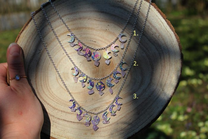 moon phases necklace, lunar phases, space art, amethyst stones, handmade jewlery, one of a kind gifts, etsy shop, shewolfka.com