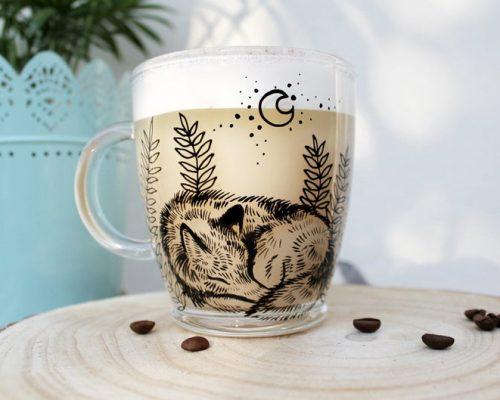 Sleeping glass wolf mug tea cup coffee mug hand painted unique gift animal art love animals woodland