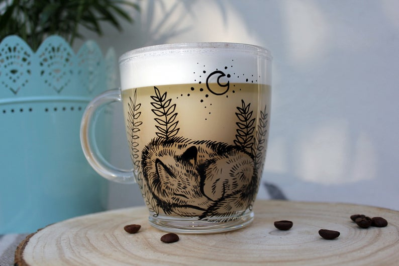 Sleeping glass wolf mug tea cup coffee mug hand painted unique gift animal art love animals woodland