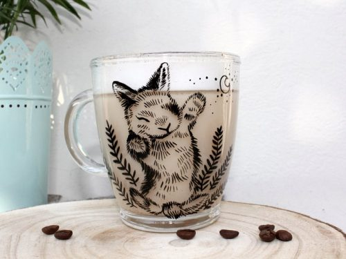 glass bunny mug sleepy bunny cute coffe mug flowers plants time for friends cute