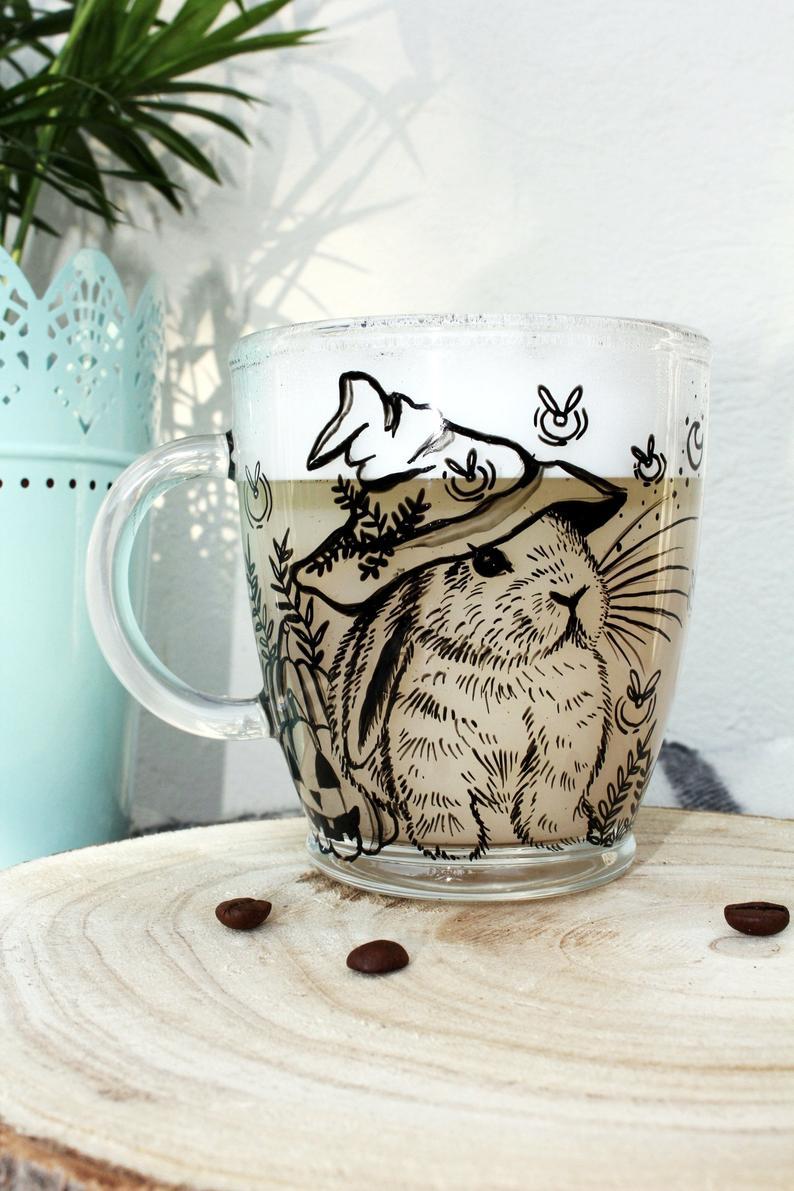 glass halloween bunny mug magic fireflies pumpkin fall auntumn