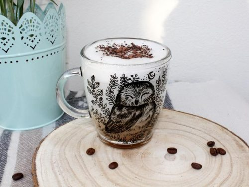 glass owl coffe mug, hand painted ctea cup, unique gift, handmade, plants botanical art moon stars