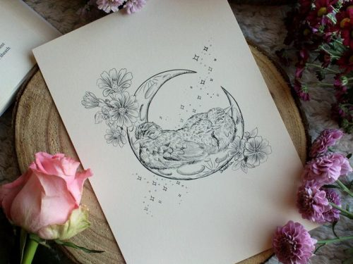 Baby birds on moon art print illustration flower botanical