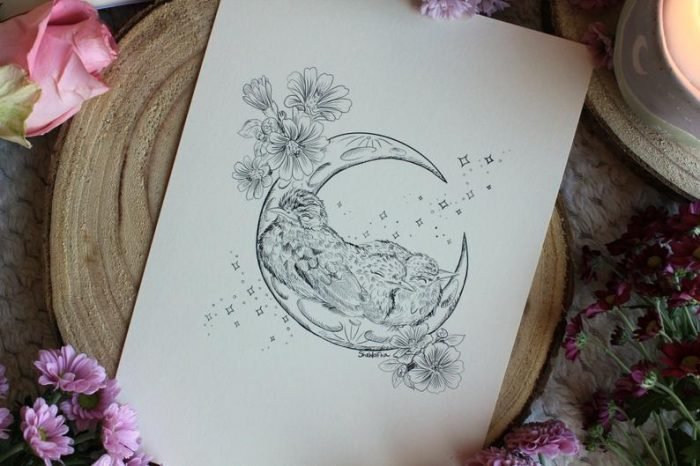 Baby birds on moon art print illustration flower botanical