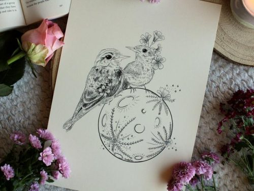 Birds on moon art print lovely gift idea flower inspiration