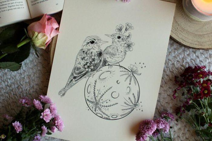 Birds on moon art print lovely gift idea flower inspiration