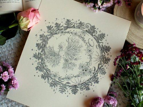 Moon sun phoenix illustration print space art starry sky line art