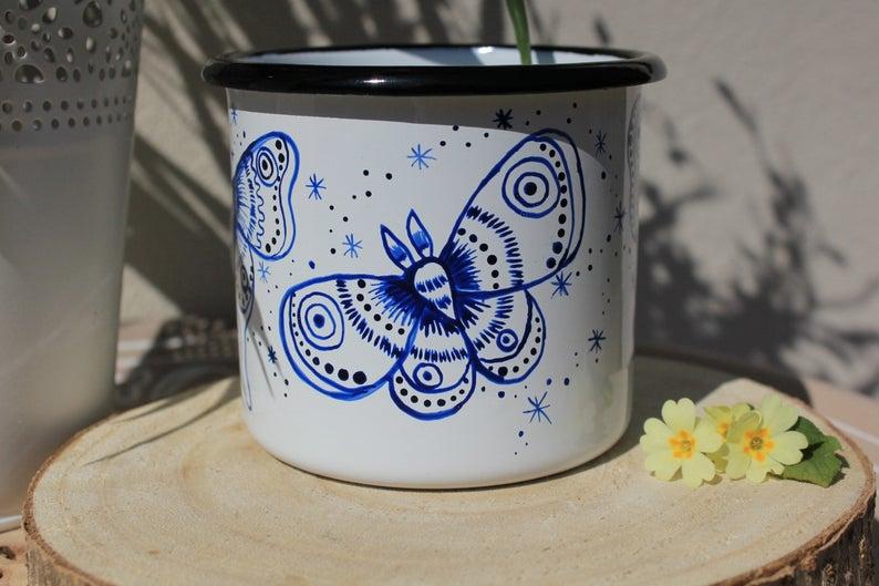 Luna moth enamel mug shewolfka etsy magical camping mug campfire