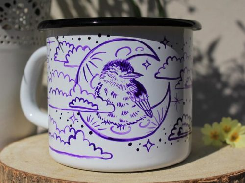 Sleepy bird on crescent moon shewolfka etsy clouds