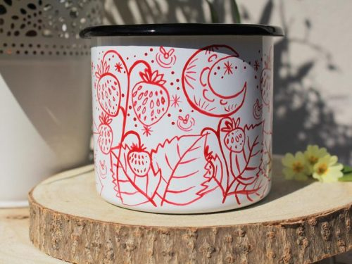 Strawberry enamel mug, handpainted starry sky camping cup fireflies cute plants sweet fruit