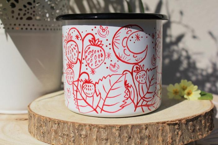 Strawberry enamel mug, handpainted starry sky camping cup fireflies cute plants sweet fruit